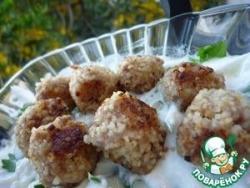 Фрикадельки из фарша и булгура с натуральным йогуртом