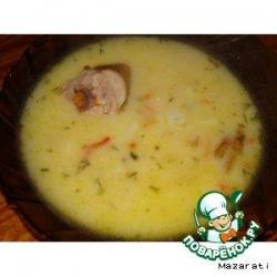 Суп со сметаной и копченым мясом