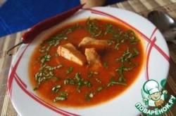 Острый томатный суп с рыбой