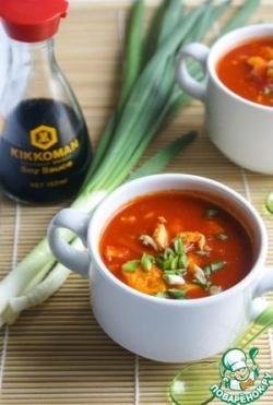 Быстрый китайский томатный суп с яйцом