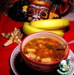 Кубинский суп с рисом, курицей и бананом
