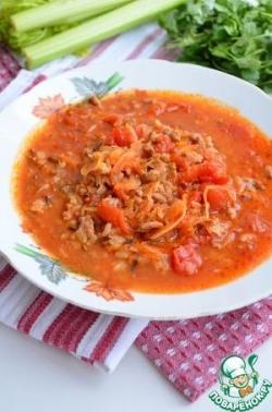 Томатный суп с рисом и квашеной капустой