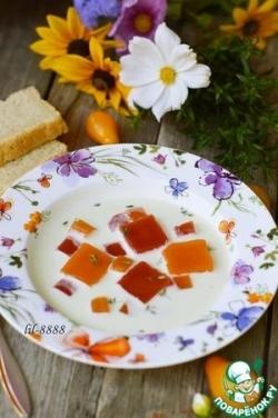 Летний йогуртовый суп с овощным желе