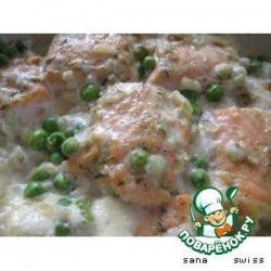 Семга   с   зеленым   горошком,   запеченная   в   сливках