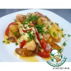 Жареный лосось с картошечкой
