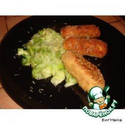 Рыбные палочки и овощные макароны