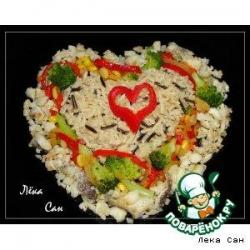 Треска с овощами и диким рисом