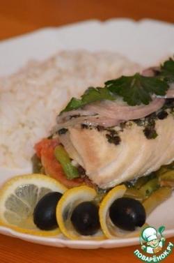 Треска по-провански с овощами и рисом