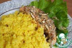 Запеченный лосось с шафрановым ризотто