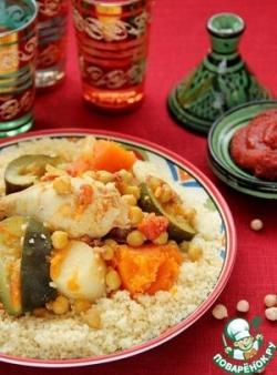 Кускус по-мароккански с курицей, овощами и мясными тефтелями