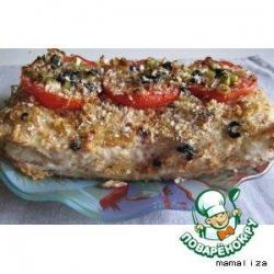 Куриный террин с рисовыми шариками и вялеными помидорами