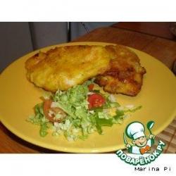 Куриная грудка в кляре с куркумой и белой горчицей