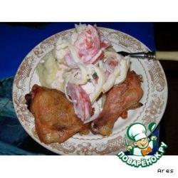 Картофельное пюре с печеной курицей