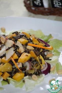 Салат из дикого риса с куриной грудкой