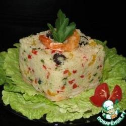 Кускус с креветками и овощами