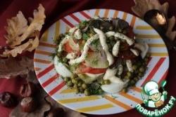 Овощной салат с куриной печенью