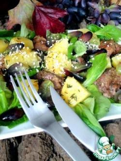 Теплый салат из запеченой тыквы и печени