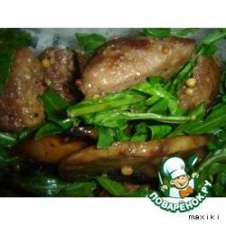 Салат с рукколой и куриными печенками
