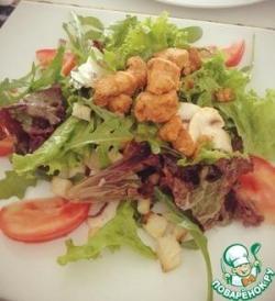Салат с рукколой и маринованными грибами