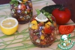 Салат из чечевицы и овощей