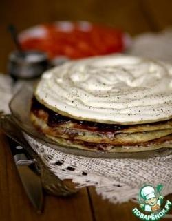 Закусочный торт с луковым мармеладом и мясом