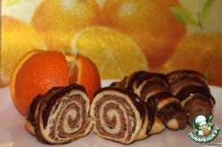 Сдобные рогалики с какао и орехо-маковой начинкой