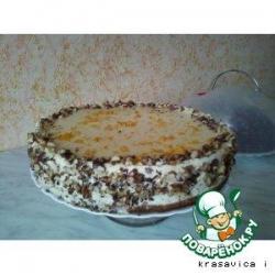 Торт апельсиновый  с маскарпоне и грецкими орехами