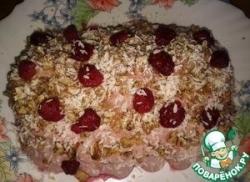 """Торт """"Дачный"""" из овсяного печенья с черёмуховым вареньем (без выпечки)"""