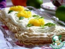 Лаймовый торт-безе с имбирем и малиновым джемом