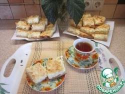 Творожно-персиковый пирог с миндальной посыпкой