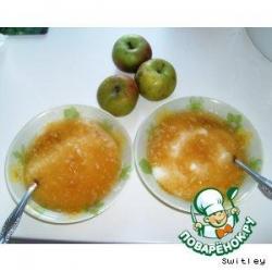 Манная каша с яблочным киселем