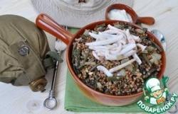 Гречка по-камчатски с папоротником и кальмарами