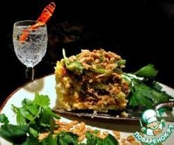 Рисовая запеканка (пирог) с мясом и луком-пореем