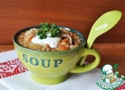 Суп с рисом, чечевицей и потрохами