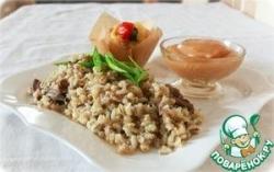Перловка с говяжьей лыткой и яблочным пюре, приготовленная в мультиварке