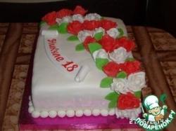 Торт с розами, украшенный мастикой