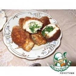 Куриный рулет с зеленой начинкой