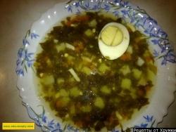 Вкусный суп щавелевый с яйцом