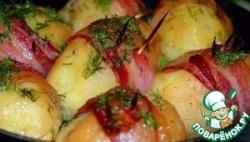 Запеченная картошка с моцареллой, луком и грибами