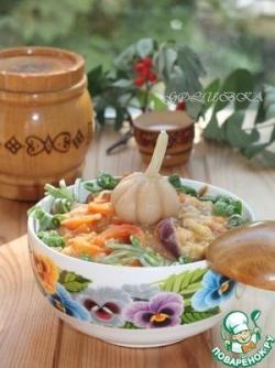 Теплый салат с мятой и чечевицей