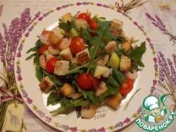 Салат с креветками и черри