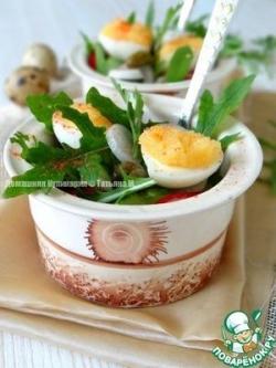 Порционный салат с каперсами и икрой