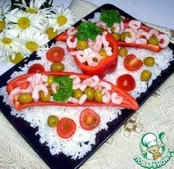 Закусочный салат с креветками и оливками
