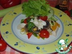 Салат из курицы с шампиньонами и овощами
