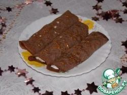 Блины шоколадные с творожно-банановой начинкой