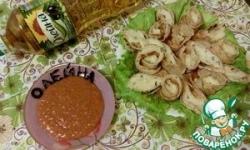 Блинчики с брынзой и соусом из фасоли