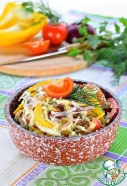 Овощной салат с яичным блинчиком