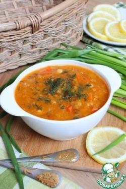 Постный суп из чечевицы с тыквой