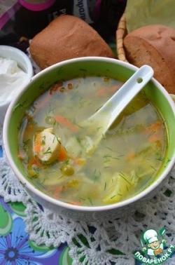 Куриный суп с рисом и горошком