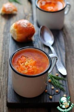 Гороховый суп с запечёнными овощами
